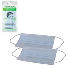 Маски медицинские, комплект 5 шт., 3-х слойные на резинке, голубые, упаковка европодвесом