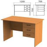 Стол письменный «Фея», 1200×700×750 мм, тумба 3 ящика, цвет орех милан, СФ10.5