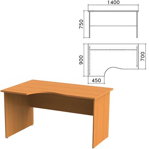 Стол письменный эргономичный «Фея», 1400×900×750 мм, левый, цвет орех милан, СФ07.5