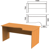 Стол письменный эргономичный «Фея», 1600×900×750 мм, правый, цвет орех милан, СФ14.5