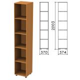 Шкаф (стеллаж) «Фея», 370×370×2000 мм, 4 полки, цвет орех милан, КФ15.5