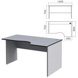 Стол письменный эргономичный «Монолит», 1400×900×750 мм, правый, цвет серый, СМ4.11