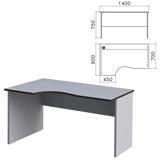 Стол письменный эргономичный «Монолит», 1400×900×750 мм, левый, цвет серый, СМ5.11