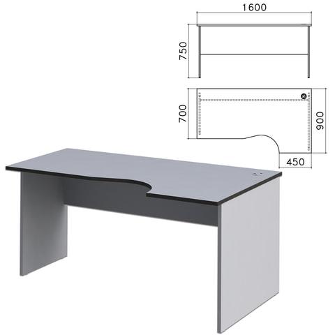Стол письменный эргономичный «Монолит», 1600×900×750 мм, правый, цвет серый, СМ6.11