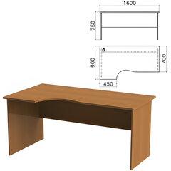 Стол письменный эргономичный «Монолит», 1600×900×750 мм, левый, цвет орех гварнери, СМ7.3