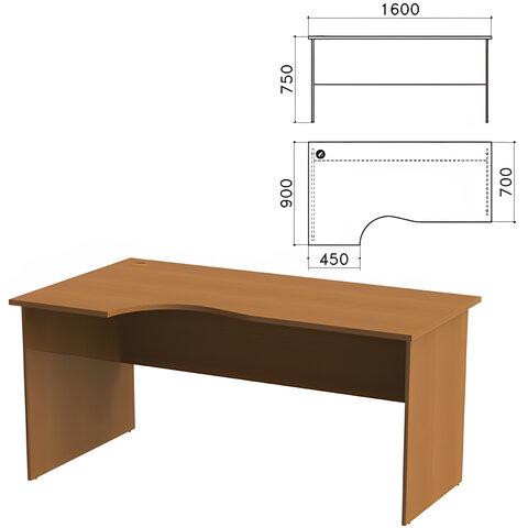 """Стол письменный эргономичный """"Монолит"""", 1600х900х750 мм, левый, цвет орех гварнери, СМ7.3"""
