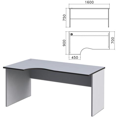 "Стол письменный эргономичный ""Монолит"", 1600х900х750 мм, левый, цвет серый, СМ7.11"