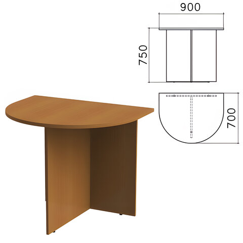 """Стол приставной к столу для переговоров (640111) """"Монолит"""", 900х700х750 мм, орех гварнери, ПМ19.3"""