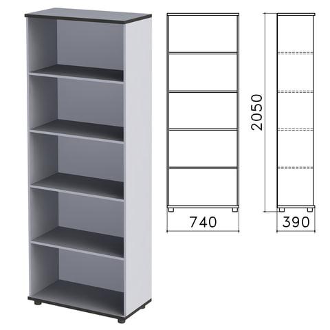 "Шкаф (стеллаж) ""Монолит"", 740х390х2050 мм, 4 полки, цвет серый, ШМ44.11"