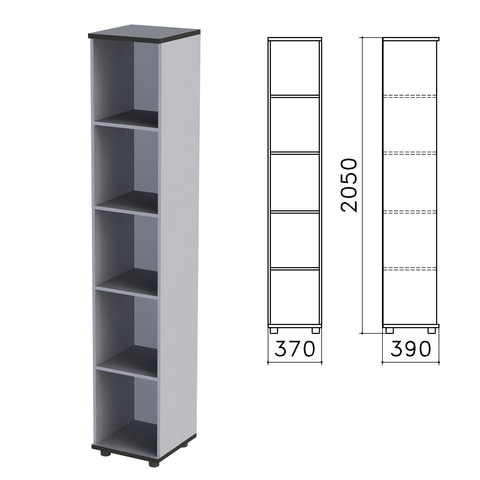 "Шкаф (стеллаж) ""Монолит"", 370х390х2050 мм, 4 полки, цвет серый, КМ45.11"