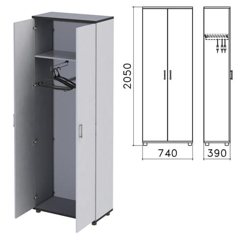"Шкаф для одежды ""Монолит"", 740х390х2050 мм, цвет серый, ШМ49.11"