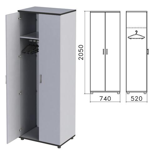 Шкаф для одежды «Монолит», 740×520×2050 мм, цвет серый, ШМ50.11