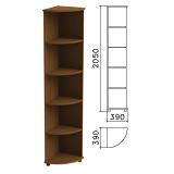 Шкаф (стеллаж) угловой «Монолит», 390×390×2050 мм, 4 полки, цвет орех гварнери, УМ46.3
