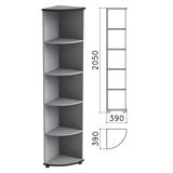Шкаф (стеллаж) угловой «Монолит», 390×390×2050 мм, 4 полки, цвет серый, УМ46.11