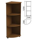 Шкаф (стеллаж) угловой «Монолит», 390×390×1250 мм, 2 полки, цвет орех гварнери, УМ47.3