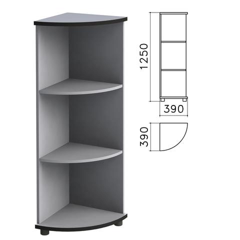"Шкаф (стеллаж) угловой ""Монолит"", 390х390х1250 мм, 2 полки, цвет серый, УМ47.11"