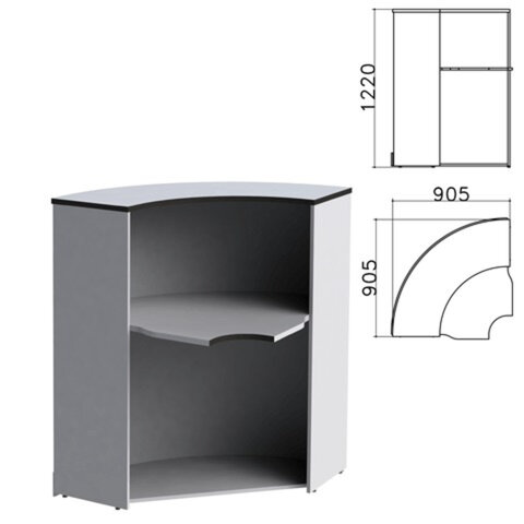 Стойка ресепшн угловая «Монолит», 905×905×1220 мм, цвет серый, УМ53.11