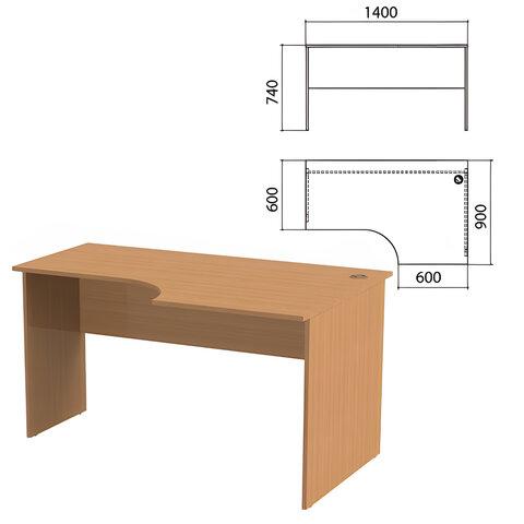Стол письменный эргономичный «Эко», 1400×900×740 мм, правый, бук бавария