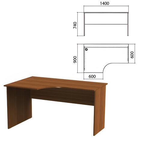 Стол письменный эргономичный «Эко», 1400×900×740 мм, левый, орех