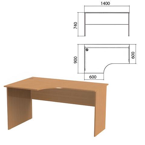 Стол письменный эргономичный «Эко», 1400×900×740 мм, левый, бук бавария