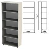 Шкаф (стеллаж) «Этюд», 800×384×1942 мм, 4 полки, серый