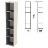 Шкаф (стеллаж) «Этюд», 400×384×1942 мм, 4 полки, серый