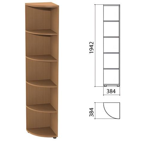 Шкаф (стеллаж) угловой «Этюд», 384×384×1942 мм, 4 полки, бук бавария