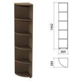Шкаф (стеллаж) угловой «Этюд», 384×384×1942 мм, 4 полки, дуб онтарио