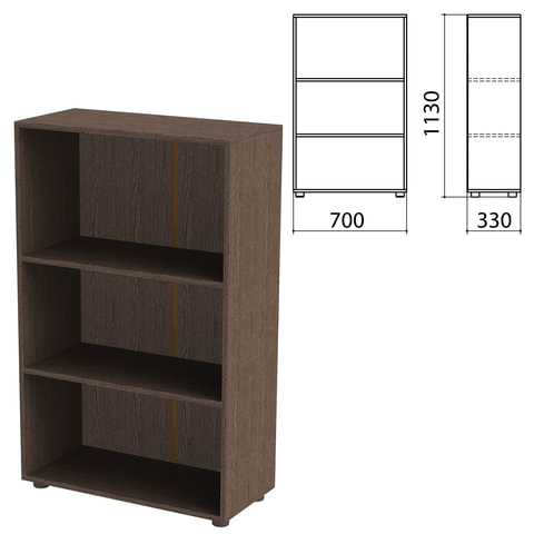 Шкаф (стеллаж) «Канц» 700×330×1130 мм, 2 полки, цвет венге