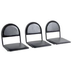 Сиденья для кресла «Квинт», комплект 3 шт., кожзам черный, каркас черный