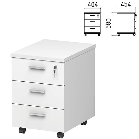 "Тумба подкатная ""Профит/Кубика"", 404х454х580 мм, 3 ящика, замок, белый"