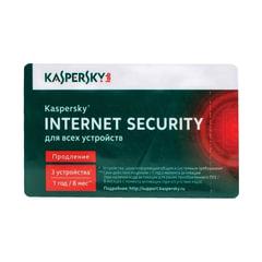 Антивирус KASPERSKY «Internet Security», лицензия на 3 устройства, 1 год, карта продления