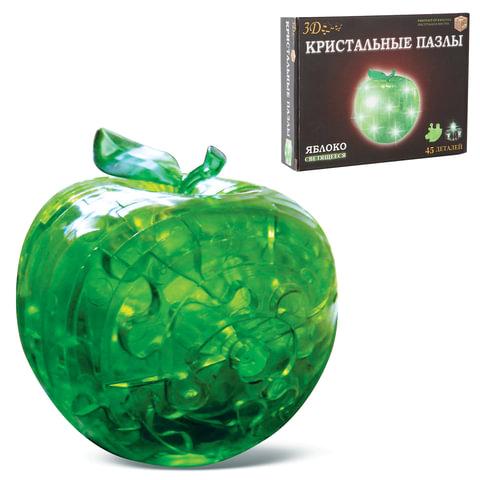 """Игрушка развивающая 3D Crystal Puzzle """"Яблоко"""", светильник, L, 45 элементов"""