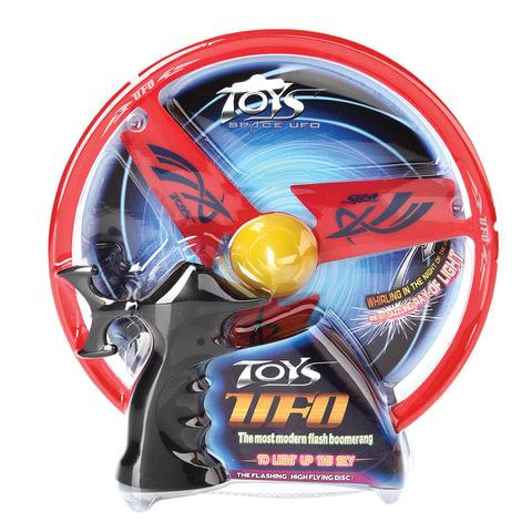 Игрушка релаксирующая «Летающая тарелка-бумеранг», с подсветкой, диаметр 26 см, цвет ассорти