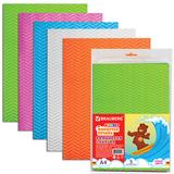 Цветная пористая резина для творчества (пенка в листах), А4, 210×297 мм, BRAUBERG (БРАУБЕРГ), 5 листов, 5 цветов, волнист. фактура