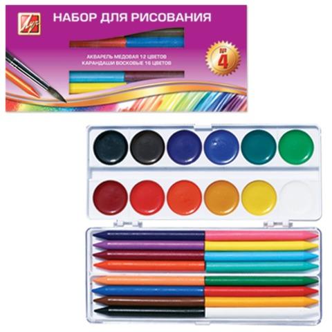 Набор для творчества ЛУЧ №4, краски акварельные медовые 12 цв., карандаши 16 цв., кисть, буклет