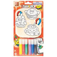 Набор для творчества ЛУЧ, краски по стеклу «Витраж» изготовление магнитов: 6 цветов, 3 подвески, магнитная лента