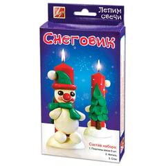 Набор для изготовления свечей ЛУЧ «Снеговик»: восковые пластины 5 шт., 3 цв., фитиль, стек