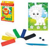 Набор для творчества ЛУЧ «Львенок»: пластилин мягкий 6 цветов, стек, цветной рисунок, 2 глазика