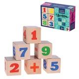 Кубики деревянные «Цифры», 12 шт., 4×4×4 см, цветные цифры на неокрашенных кубиках, «Десятое королевство»