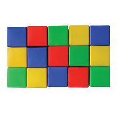 Кубики пластиковые, 15 шт., 8×8×8 см, цветные, «Десятое королевство»