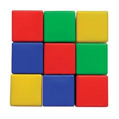 Кубики пластиковые, 9 шт., 8×8×8 см, цветные, «Десятое королевство»