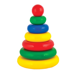 Пирамидка пластиковая «Малышок», 7 элементов (6 колец, шар), цветная, «Десятое королевство»