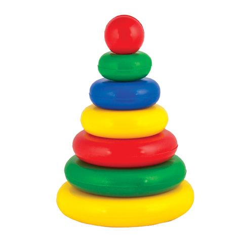 """Пирамидка пластиковая """"Малышок"""", 7 элементов (6 колец, шар), цветная, """"Десятое королевство"""""""