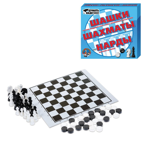 Игра 3 в 1 «Шашки, нарды и шахматы», 21×19 см, «Десятое королевство»