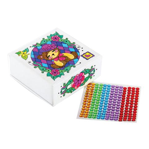 """Набор для творчества «Шкатулка для девочек »Медвежонок"""", 5×11×11 см, раскраска+стразы, «Десятое королевство»"""