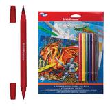 Набор для творчества ERICH KRAUSE «Creative line» (рыцари, дракон), 6 двусторонних фломастеров + 4 раскраски