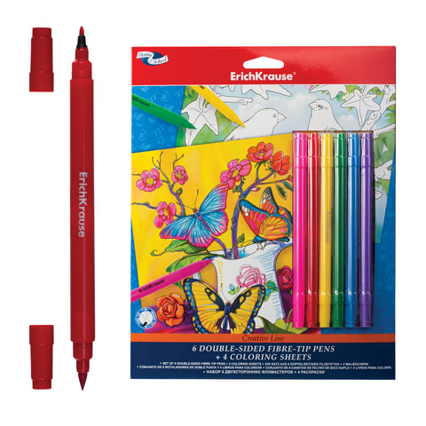 Набор для творчества ERICH KRAUSE «Creative line» (цветы, птицы), 6 двусторонних фломастеров + 4 раскраски