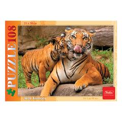 Пазл MINI, 108 элементов, А4, «Тигрица с тигрёнком», 210×300 мм, 108ПЗ4 09213