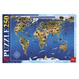 Пазл STANDARD, 250 элементов, А3, «Карта Животный мир», 280×400 мм, 250ПЗ3 15482